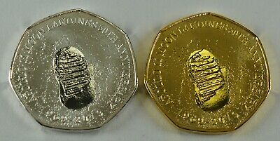 Pair Of MOON LANDINGS 50th ANNIVERSARY Commemoratives Silver & 24ct Gold • 11.99£