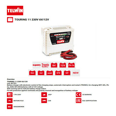 AU113.15 • Buy Telwin 6 / 12 Volt Battery Charger 1.5/3 Amp Tronic Electronic Control