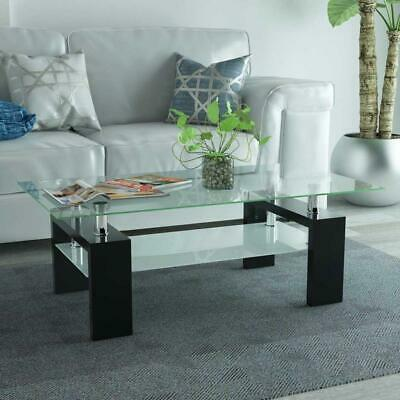 AU175.90 • Buy Living Lounge Room Furniture Coffee Table 2-Tier Layer Glass Shelves High Gloss
