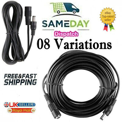 DC Power Supply Extension Cable 12V For CCTV Camera/DVR/PSU Lead 1m/2m/3m/5m/10m • 2.21£