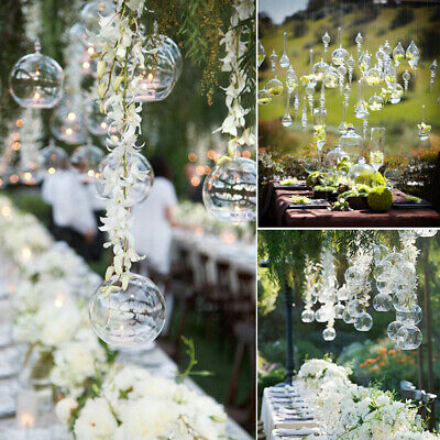 Hanging Clear Glass Plant Pot DIY Bauble Fillable Sphere Tea Light Candle Holder • 8.95£
