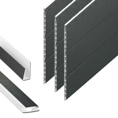 Anthracite Grey Hollow Soffit Board / UPVC Plastic Panel Cladding - 5m Lengths • 34.95£