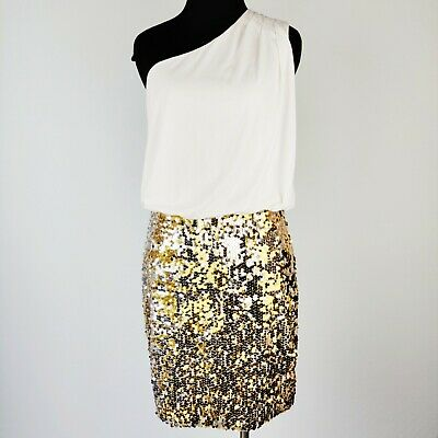 AU21.29 • Buy WAY-IN Clothing Gold / White Sequin Dress Party Cocktail One Shoulder Sz M