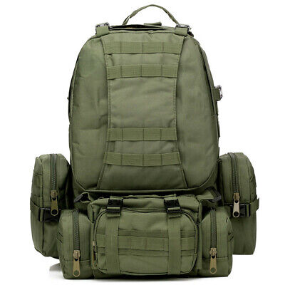 AU28.83 • Buy Outdoor 50L Hiking Camping Bag Army Military Tactical Rucksacks Backpack Green