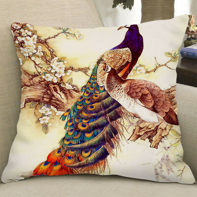 Square Cushion Cover Pillowslip Decoration Cover Two Peacocks 60x60cm • 7.38£