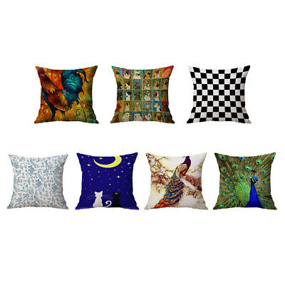 Home Decor Pillow Case Cushion Cover Throw Cock Peacock Cat Flower Square • 7.59£