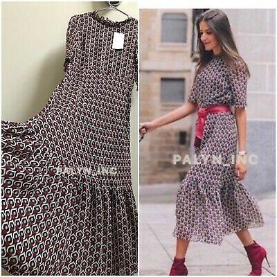 $39.99 • Buy Nwt Zara Aw18 Flowing Heart Print Midi Dress_xs S M L Xxl