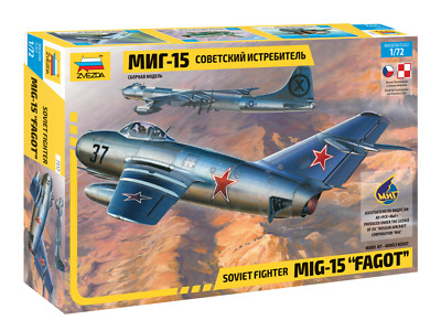 Zvezda 1/72 Scale MIG 15 FAGOT Aircraft Plane Model Kit • 11.99£