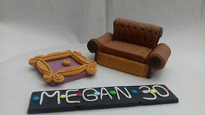 Handmade Sofa,Photo Frame,Name Plaque Edible Personalised Cake Topper Friends St • 9.99£