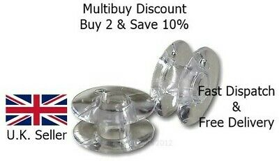£2.75 • Buy 20 Clear Plastic Sewing Bobbins Spools Universal Fit Most Machines Bevelled Edge