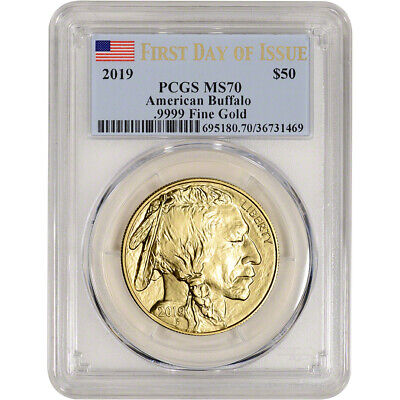 $1978.88 • Buy 2019 American Gold Buffalo 1 Oz $50 - PCGS MS70 First Day Of Issue Flag Label