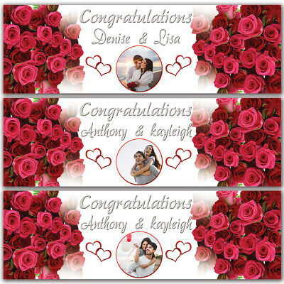 2 Personalised Wedding Engagement Banner Photo Party Poster Just Married Rose • 4.99£