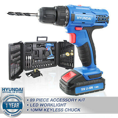 View Details Cordless Power Drill Electric Screwdriver 18V DUAL SPEED LED LIGHT + 89 BIT SET • 59.99£