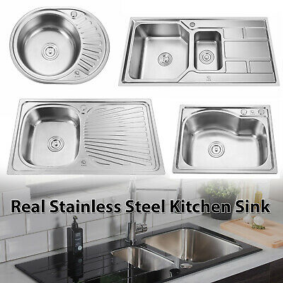 Stainless Steel Kitchen Sink Commercial Catering Single Double Bowl Drainer Kit • 31.90£