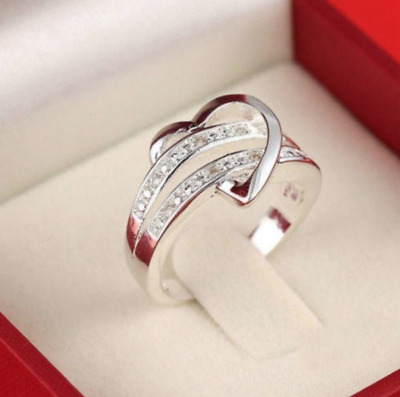 925 Silver Women Lady Love Heart Wedding Engagement Crystal Ring Band • 4.79£