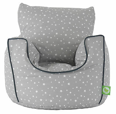 Cotton Grey Stars Bean Bag Arm Chair With Beans Toddler Size From Bean Lazy • 23.99£