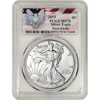 $45.85 • Buy 2019 American Silver Eagle - PCGS MS70 - First Strike Red Flag Label