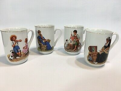 $ CDN31.73 • Buy Norman Rockwell Museum 1982 Ceramic Collectors Mugs Set Of 4 Gold Rimmed