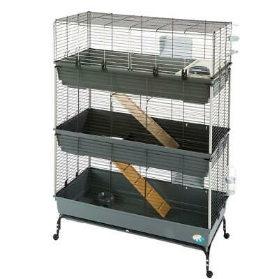 Large 3-Tier Small Pet Cage Rabbit Guinea Pig Indoor House Home Run Ramps • 179.39£