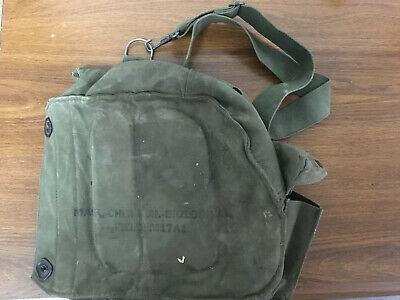 $35 • Buy VINTAGE M17 A1 US ARMY GAS MASK Canvas Bag CHEMICAL BIOLOGICAL