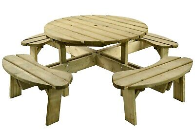 Wooden Round Pub Quality 8 Seater Picnic Table – Thick Wood Treated Bench • 366£