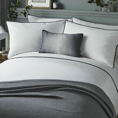 Serene Pom Pom Trim Pintuck Detail Duvet Quilt Cover Bed Set In Grey • 23.99£