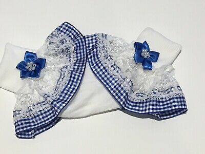 Handmade Royal Blue School Gingham Frilly Girls Socks • 3.25£