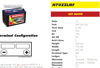 AU179 • Buy N70zz / N70zzl Truck Batteries Commercial Heavy Duty 2 Years Warranty