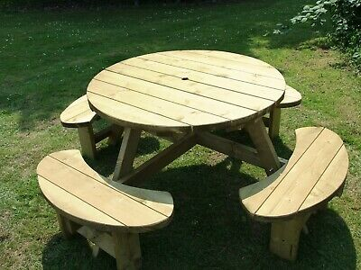 Round Picnic Bench Table Winchester WRB38G 1140mm Table Top, 38mm Treated Timber • 194.95£