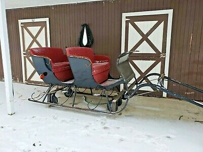 $3250 • Buy Horse Drawn Sleigh One Horse Open Sleigh 4 Person With Runners And Wheels