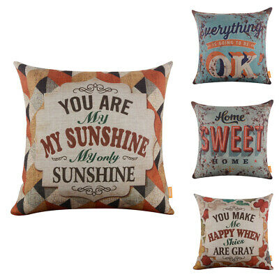 You Are My Sunshine Cushion Cover Rusted Home Sweet Home Pillow Case Decor Couch • 7.99£