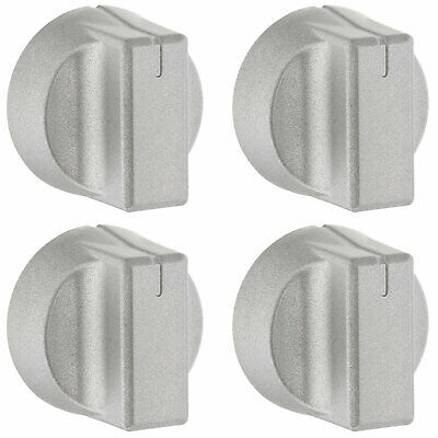 4 X Oven Cooker Hob Silver Control Knobs For New World 444447281, 444447283 • 16.99£