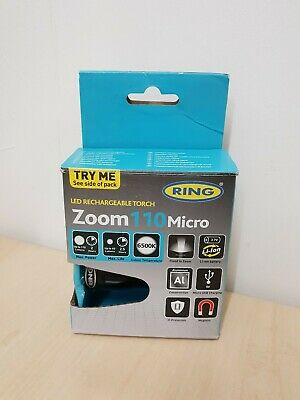 Ring RIT1010 Zoom110 Micro Rechargeable Aluminium LED Torch With Li-ion Battery • 14.99£