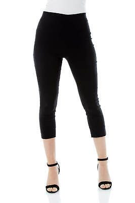 Cropped Stretch Capri Bengaline Trousers 3/4 Thick Legging Women Roman Originals • 19.80£