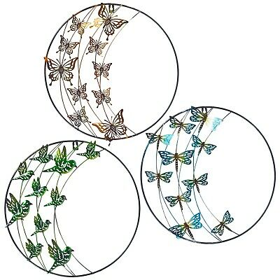 3 X Decorative Garden Ornaments Wall Hung Birds Outdoor Indoor Colourful Insects • 19.99£