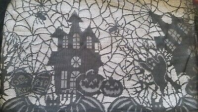 $9.95 • Buy Halloween Black Lace Table Cover Spiderweb Ghosts Haunted House Pumpkin 50 X72