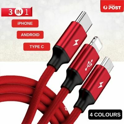AU4.95 • Buy 3 In 1 Multi USB Charger Charging Cable Cord For IPhone Micro USB TYPE Android