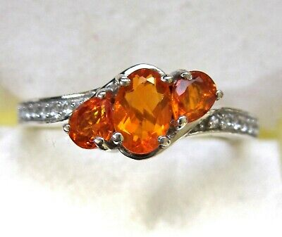 £23.73 • Buy Mexican Fire Opal Three-Stone & White Zircon Ring / Sz 8 / 925 Sterling, 0.64ct