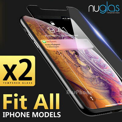AU7.69 • Buy 2x Nuglas Tempered Glass Screen Protector For IPhone 12 11 Pro XS Max X 8 7 Plus