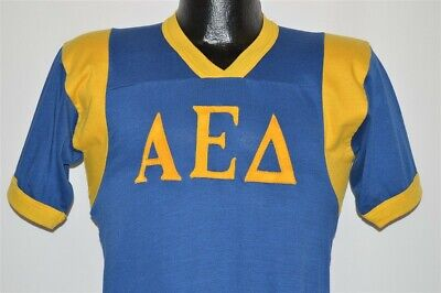 $ CDN60.05 • Buy Vintage 70s ALPHA EPSILON DELTA BLUE GOLD JERSEY RINGER HONOR T-shirt SMALL S