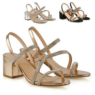 Womens Low Heel Strappy Sandals Ladies Gold Silver Diamante Bridal Party Shoes • 22.99£