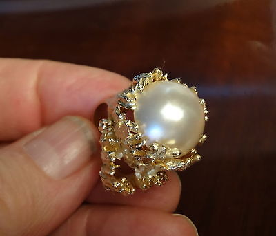 $1275 • Buy Magnificent Huge Mabe Pearl 14k Gold Ring 22.8 Grams