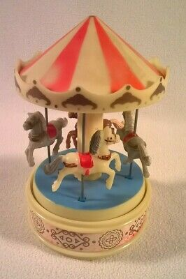 $28.95 • Buy Vintage Yaps Wind Up 4 Horse Carousel Plastic Music Box Plays A Carousel Waltz