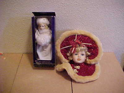 $ CDN21.32 • Buy Lot Of 2 Victorian  Christmas Porcelain Doll Ornaments Holiday