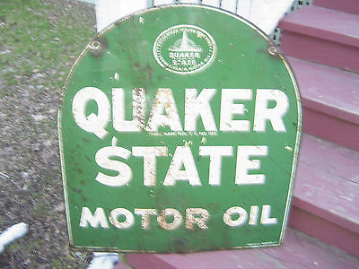 Tombstone Quakerstate Motor Oil Metal Double Sided 1967 Sign • 275$