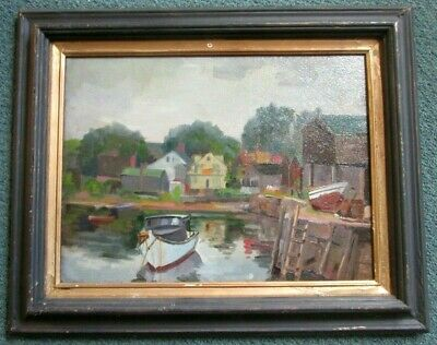 $750 • Buy Fine Oil Painting Of Rockport Ma.  By Listed Ny Artist Joseph Newman (1890-1979)