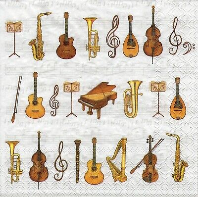 £1.36 • Buy 4x Designer PAPER NAPKINS For Decoupage ORCHESTRA MUSICAL INSTRUMENTS MUSIC