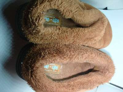 SKECHERS BROWN UPPER LEATHER FAUX FUR LINE SLIPPERS MULES SIZE 8 Pre-owned • 21.45£