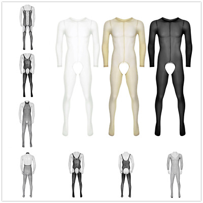 $8.45 • Buy Mens Lingerie Sheer See Through Socks Pantyhose Footed Tights Full Body Stocking