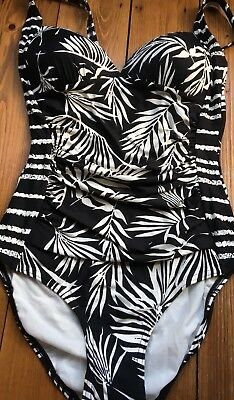 Marks And Spencer Swimsuit Swimming Costume Black And White New Palm Tall Long • 9.99£
